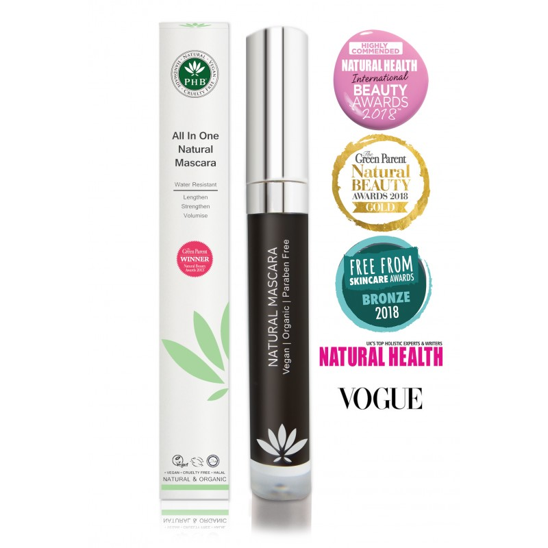 1fff4220c45 PHB All In One Natural Mascara, Vegan, Cruelty Free & Halal Certified,  Natural, Organic, Palm Oil free. >