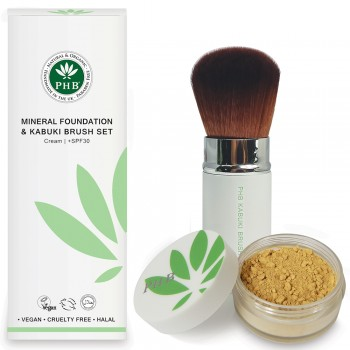 PHB Mineral Foundation & Kabuki Brush Set
