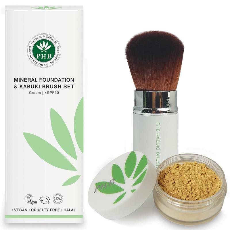 PHB Mineral Foundation & Kabuki Brush Set